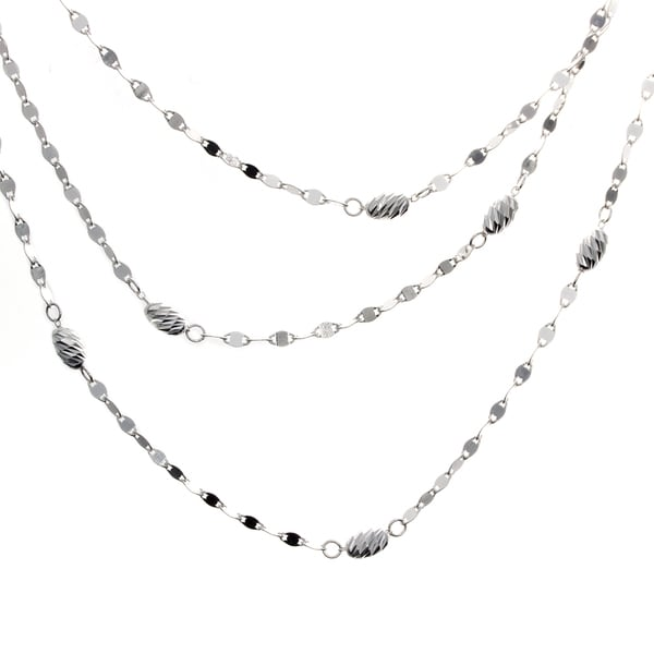 16-inch Sterling Silver Diamond-cut Bead Twist Link Muli-Layered Necklace