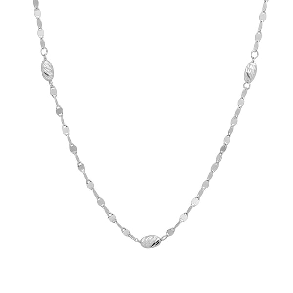Sterling Essentials 37-inch Silver Diamond-cut Bead Twist Link Opera Necklace