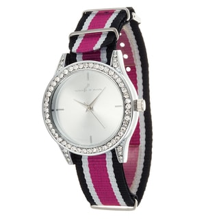 Via Nova Women's Silver Case and Plate Pink & Black Nylon Strap Watch