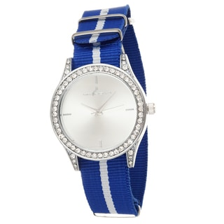 Via Nova Women's Silver Case and Plate Blue & White Nylon Strap Watch