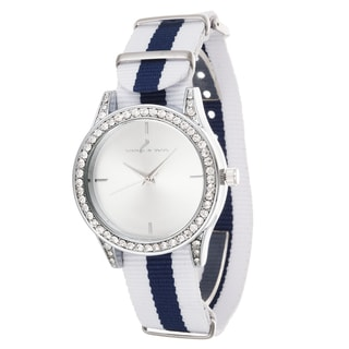 Via Nova Women's Silver Case and Plate White & Navy Blue Nylon Strap Cubic Zirconia Watch