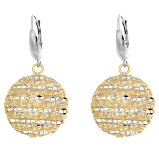 Sterling Essentials Two-tone Silver Diamond-cut Moon Drop Earrings