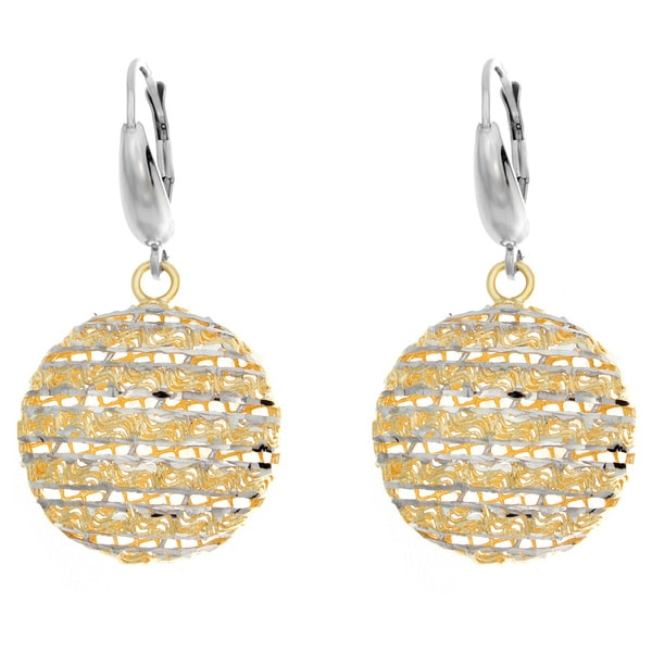 Two-tone Sterling Silver Diamond-cut Moon Drop Earrings