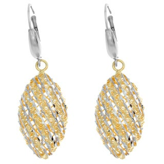 Two-tone Sterling Silver Diamond-cut Marquise Drop Earrings