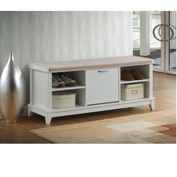 Ramos contemporary white solid wood shoe storage bench with beige cotton fabric upholstered seat Shoe storage bench with cushion