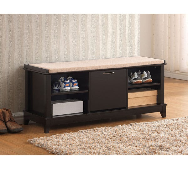 Ramos Contemporary Brown Solid Wood Shoe Storage Bench With Beige Cotton Fabric Upholstered Seat Cushions