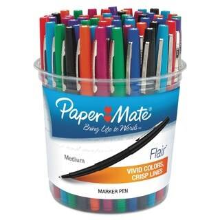 Paper Mate Point Guard Flair Bullet Point Assorted Color Stick Pens (Set of 48)