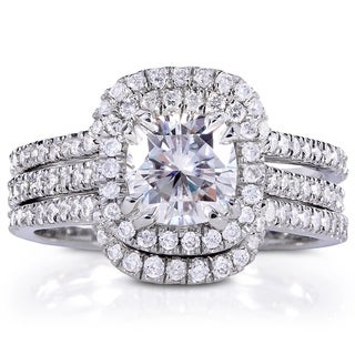 Annello by Kobelli 14k Gold Forever Brilliant Moissanite and 3/4ct TDW Diamond 3-Piece Classic Halo