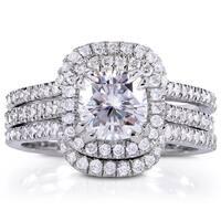 Annello by Kobelli 14k White Gold 1 7/8ct TGW Moissanite (FG) and Diamond Halo Bridal Rings Set (3pc Set)