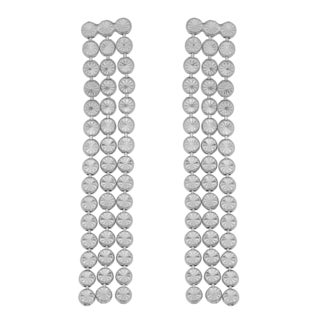 Argento Italia Rhodium-plated Sterling Silver Three Strand Diamond-cut Bead Link Drop Earrings