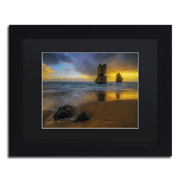 Lincoln Harrison 'Beach at Sunset' Black Wood Framed Canvas Wall Art