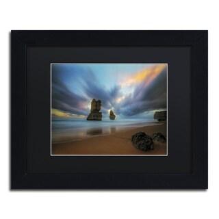 Lincoln Harrison 'Beach at Sunset 2' Black Wood Framed Canvas Wall Art