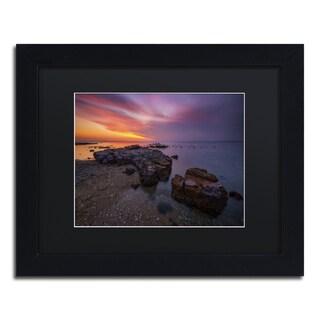 Lincoln Harrison 'Beach at Sunset 6' Black Wood Framed Canvas Wall Art