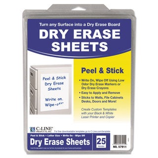 C-Line Peel and Stick White Dry Erase Sheets (Box of 25)