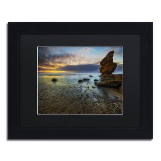Lincoln Harrison 'Beach at Sunset 3' Black Wood Framed Canvas Wall Art