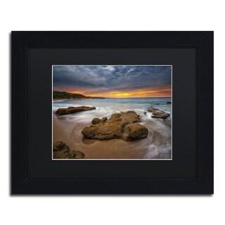 Lincoln Harrison 'Beach at Sunset 5' Black Wood Framed Canvas Wall Art