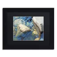 Stephen Stavast 'Blue Water Dance' Black Wood Framed Canvas Wall Art