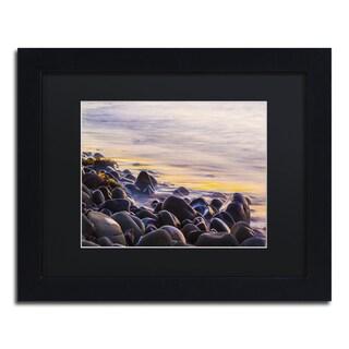 Chris Moyer 'Wet Rock Reflections' Black Wood Framed Canvas Wall Art