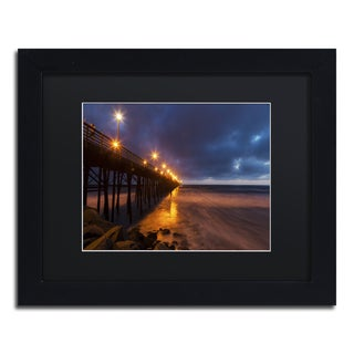 Chris Moyer 'Night Side' Black Wood Framed Canvas Wall Art