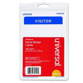 Universal Self-Adhesive White/Blue Name Badges (Box of 100)