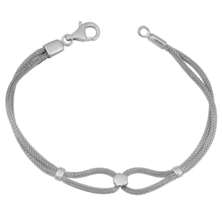 Argento Italia Rhodium Plated Sterling Silver Mesh Bracelet (7.75 inches)