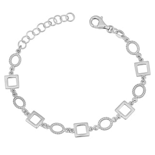 Argento Italia Rhodium Plated Sterling Silver Geometric Oval and Square Adjustable Bracelet