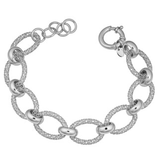 Argento Italia Rhodium Plated Sterling Silver Alternate Fancy Oval and Circle Links Adjustable Bracelet