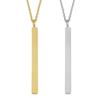 Argento Italia Sterling Silver High Polish Bar on Cable Chain Necklace (yellow or white)