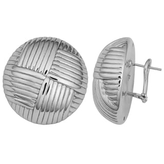 Argento Italia Sterling Silver Weave Design Omega Back Dome Earrings
