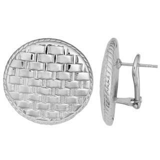 Argento Italia Sterling Silver Weave Design Round Omega Back Earrings