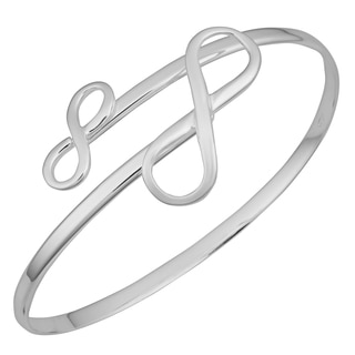 Argento Italia Sterling Silver High Polish Double Infinity Bypass Bangle
