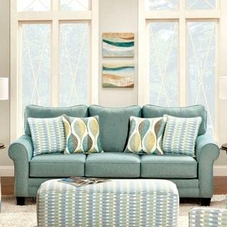 Furniture of America Springfall Contemporary Soft Teal Sofa