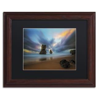 Lincoln Harrison 'Beach at Sunset 2' Wood Framed Canvas Art