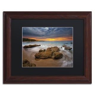 Lincoln Harrison 'Beach at Sunset 5' Wood Framed Canvas Art