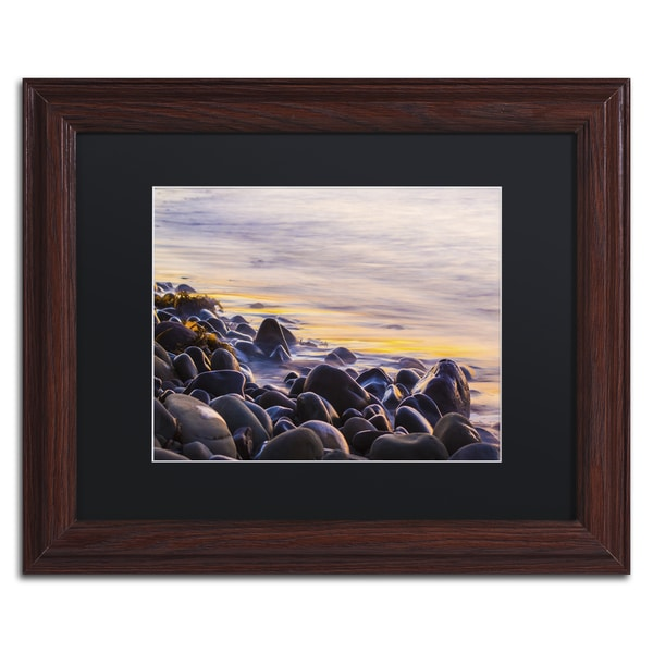 Chris Moyer 'Wet Rock Reflections' Wood Framed Canvas Art