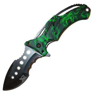 Dark Side Black 5-inch Folder Snake Handle Camo Green