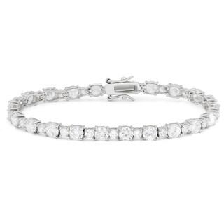 Gioelli Sterling Silver Created White Sapphire Tennis Bracelet
