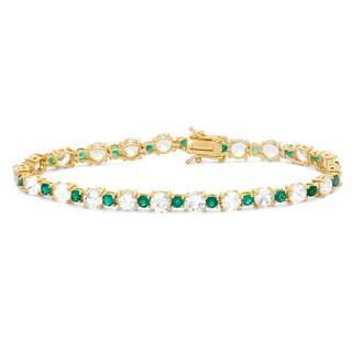 Gioelli Silver Created Emerald and White Sapphire Tennis Bracelet