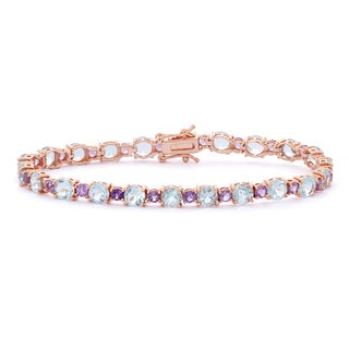 Gioelli 14k Rose Gold Plated Silver Amethyst and Blue Topaz Tennis Bracelet