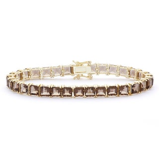 Gioelli Goldplated Sterling Silver Smoky Quartz 5mm Squares Gemstone Bracelet