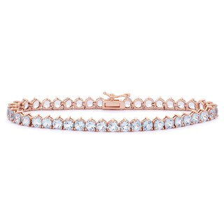 Gioelli Rose Goldplated Sterling Silver Created Aquamarine Tennis Bracelet