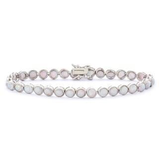 Gioelli Sterling Silver 8 1/2ct Created Opal Gemstone Tennis Bracelet