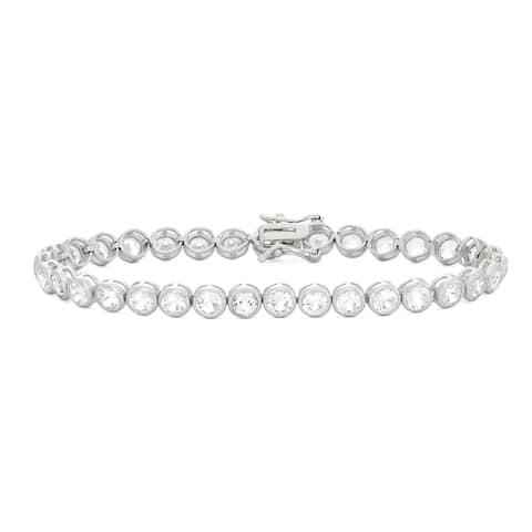 Gioelli Sterling Silver 8 1/2ct Created White Sapphire Gemstone Tennis Bracelet