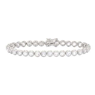 Gioelli Sterling Silver 8 1/2ct Created White Sapphire Gemstone Tennis Bracelet