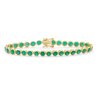 Gioelli 14k Goldplated Sterling Silver 8 1/2ct Green Onyx Gemstone Tennis Bracelet