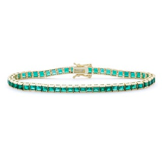 Gioelli 14k Goldplated Sterling Silver 3mm Princess-cut Created Emerald Bracelet