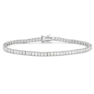 Gioelli Sterling Silver 2.5mm Princess-cut Created White Sapphire Bracelet