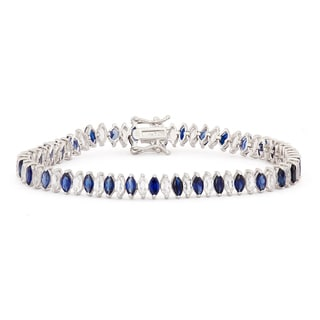 Link to Gioelli Sterling Silver Marquise Created Sapphire and White Sapphire Bracelet Similar Items in Bracelets