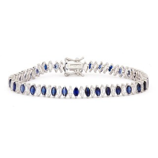 Gioelli Sterling Silver Marquise Created Sapphire and White Sapphire Bracelet