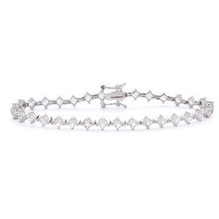 Gioelli Sterling Silver Dainty Princess Created White Sapphire Bracelet